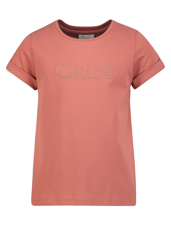 Chloã© Kids T-shirt For Girls In Orange