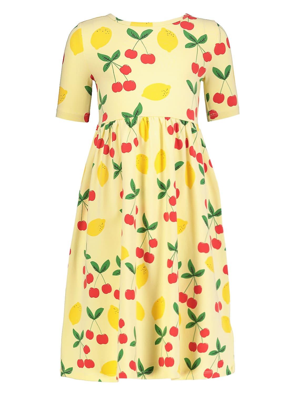 Mini Rodini Cottons KIDS DRESS CHERRY LEMONADE AOP SS LONG DRESS -X- FOR...
