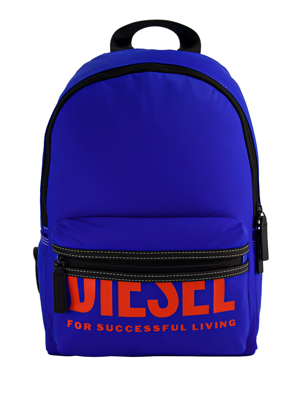 Diesel Kids' Contrasting Logo Print Backpack In Blue