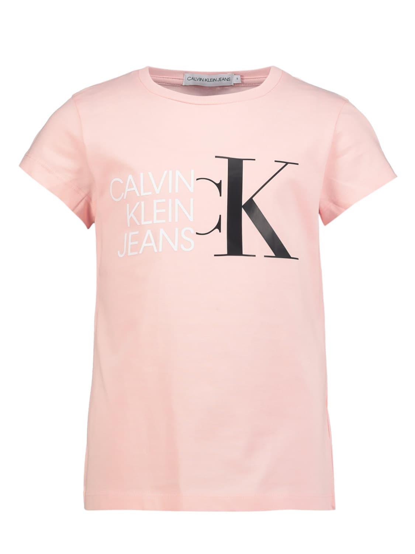 Calvin Klein Cottons KIDS T-SHIRT HYBRID LOGO SLIM T-SHIRT FOR GIRLS